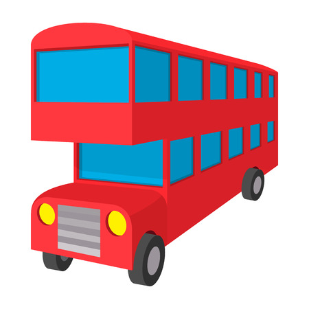 double decker: London double decker red bus icon in cartoon style on a white background Illustration