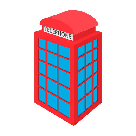 call history: British red phone booth icon in cartoon style on a white background
