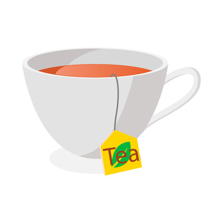 teacup: Tea cup icon in cartoon style on a white background