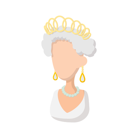 Elizabeth II British Queen icon in cartoon style on a white background Illustration