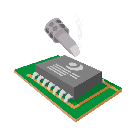 computer repair: Computer repair icon in cartoon style on a white background
