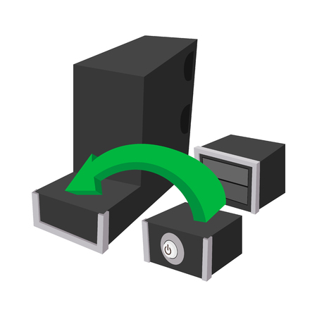 assembling: Assembling of a new PC icon in cartoon style on a white background
