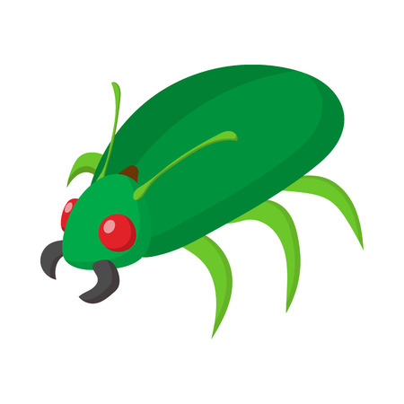 shield bug: Green bug icon in cartoon style on a white background