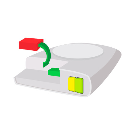 scsi: Defragment of computer hard drive icon in cartoon style on a white background