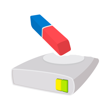 scsi: Harddisk cleaner icon in cartoon style on a white background Illustration