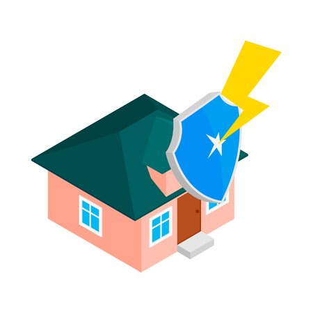 high damage: House protect by shield icon in isometric 3d style isolated on white background. Property insurance concept