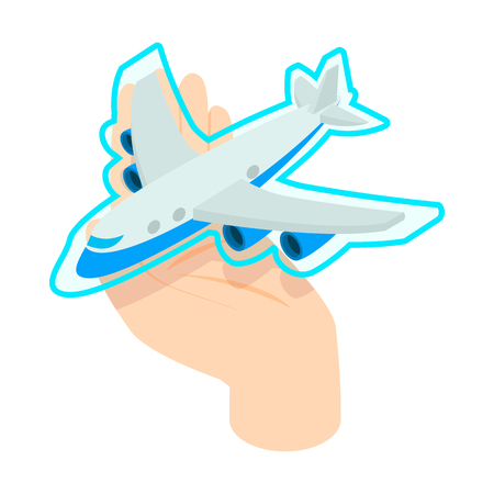 assure: Hand holding the plane icon in isometric 3d style isolated on white background. Flight insurance concept