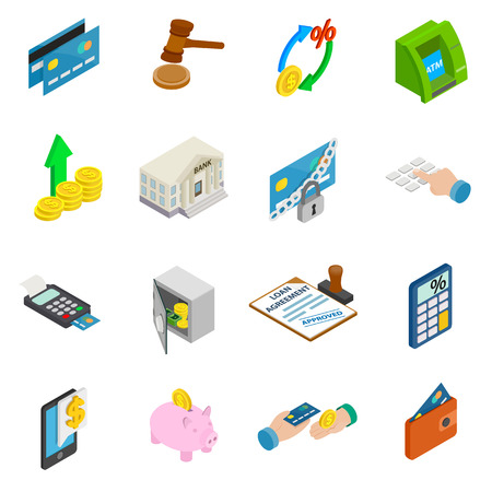 stock quotes: Credit icons set in isometric 3d style isolated on white background Illustration