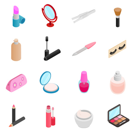Cosmetic icons set in isometric 3d style isolated on white background