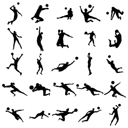 Volleyball Silhouette set isolated on white background
