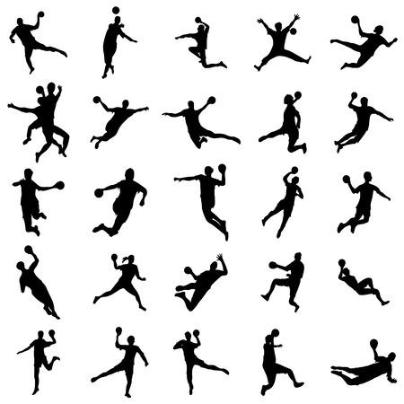 balonmano: conjunto de balonmano silueta aislado en el fondo blanco