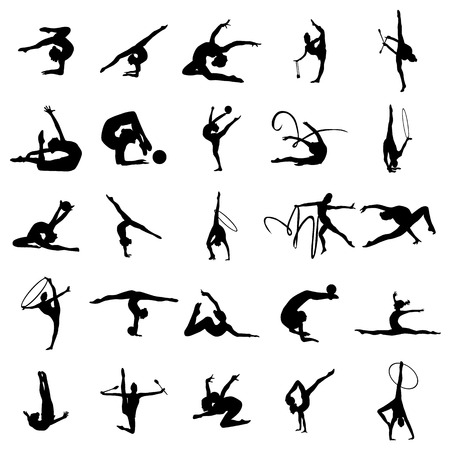 Gymnast athlete silhouette set isolated on white background Vettoriali
