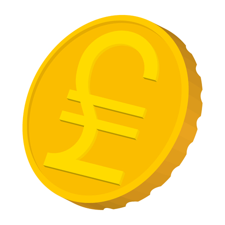 lira: Gold coin with Italian Lira sign icon in cartoon style on a white background Illustration