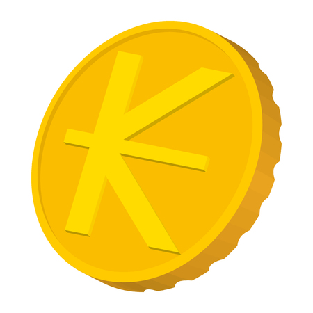 kip: Gold coin with Lao Kip sign icon in cartoon style on a white background Illustration