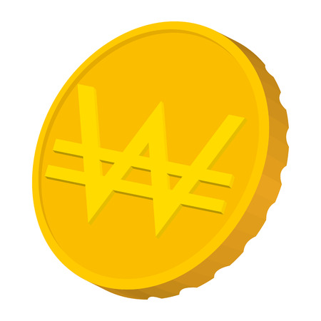 won: Gold coin with Won sign icon in cartoon style on a white background Illustration