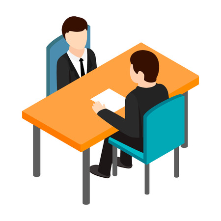 Job interview icon in isometric 3d style on a white background Vectores
