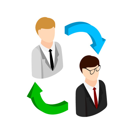 concept de rotation du personnel icône dans le style 3d isométrique sur un fond blanc Vecteurs