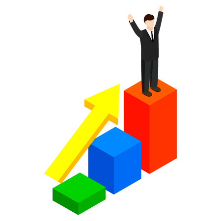 rewarded: Businessman standing on the winning podium icon in isometric 3d style on a white background Illustration