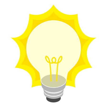 bombillo: De color amarillo brillante icono de la bombilla en estilo isométrica 3d sobre un fondo blanco Vectores