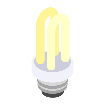 compact fluorescent lightbulb: Energy saving fluorescent light bulb icon in isometric 3d style on a white background