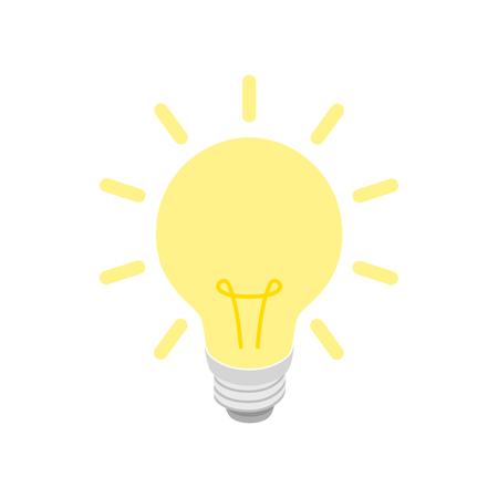 bombilla: De color amarillo brillante icono de la bombilla en estilo isométrica 3d sobre un fondo blanco Vectores