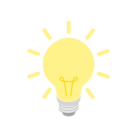 Glowing yellow light bulb icon in isometric 3d style on a white background Çizim