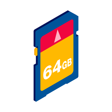 flash memory: 64 GB SD memory card icon in isometric 3d style on a white background