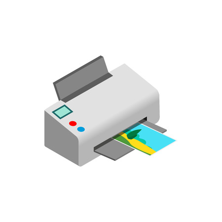 color printer: Color photo printer icon in isometric 3d style on a white background