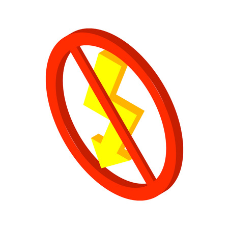 3d lightning: No lightning icon in isometric 3d style on a white background Illustration