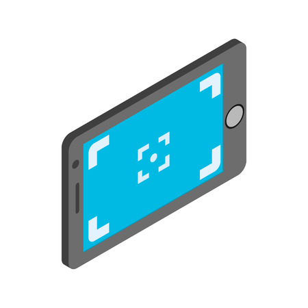 len: Camera viewfinder icon in isometric 3d style on a white background