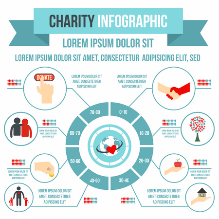 Charity infographic in flat style for any design