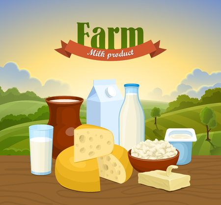 granja caricatura: Leche de granja naturales concepto de fondo para cualquier diseño