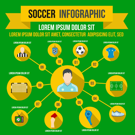 statistics icon: Soccer infographic in flat style for any design Illustration