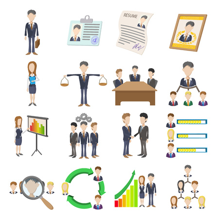 corporate hierarchy: Human resources icons set in cartoon style isolated on white background Illustration