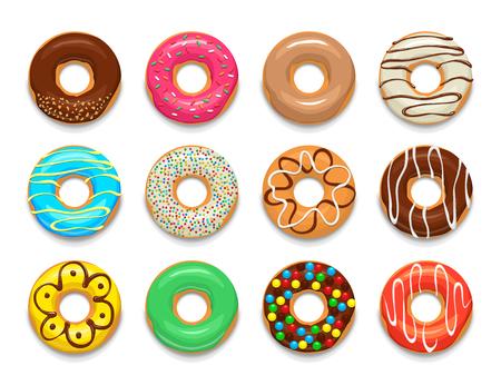 Donuts zestaw ikon w stylu kreskówki na białym tle
