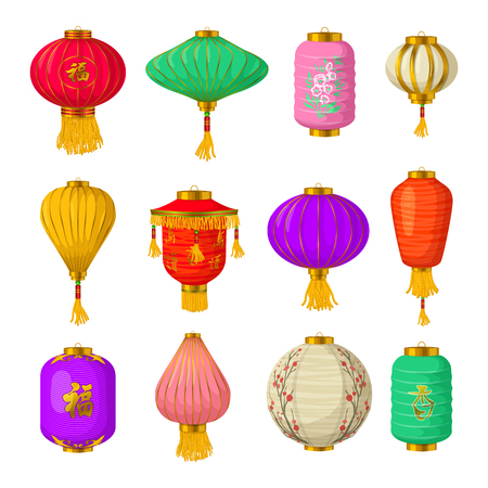 Chinese paper lanterns icons set in cartoon style on a white background