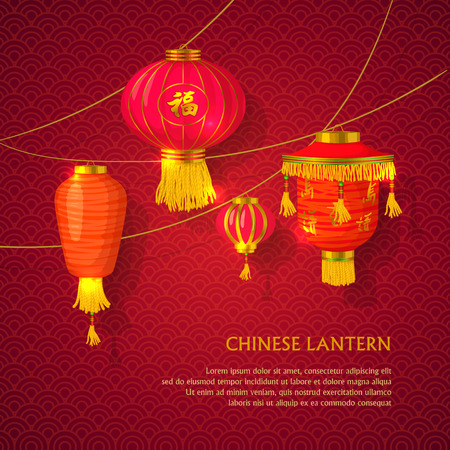 Chinese lanterns set concept on a red background Çizim
