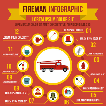 fire symbol: Firefighting infographic elements in flat style for any design Illustration