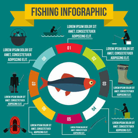 floater: Fishing infographic elements in flat style for any design