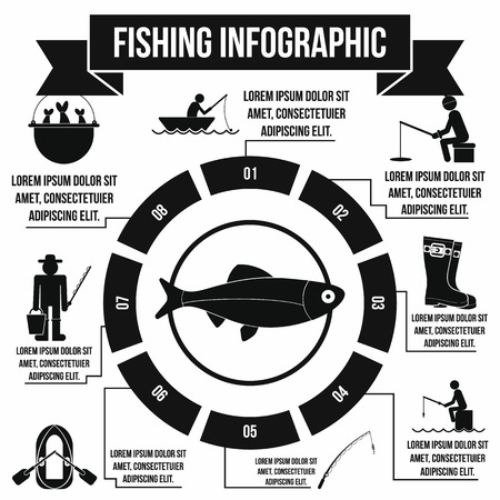 worm gear: Fishing infographic elements in simple style for any design