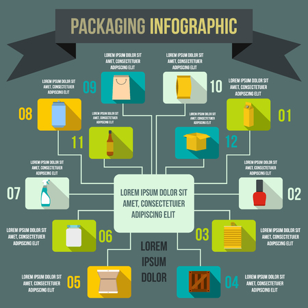 storage data product: Packaging infographic elements in flat style for any design