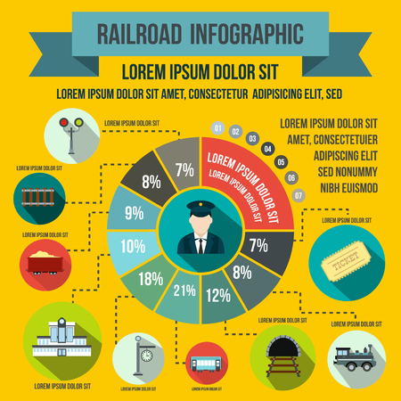 railroad crossing: Railroad infographic elements in flat style for any design
