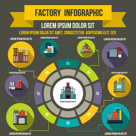 gas pipeline: Factory infographic elements in flat style for any design