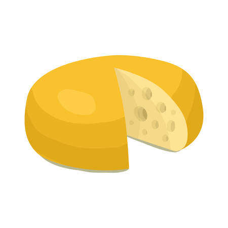cheez: Cheese wheel icon in cartoon style on a white background