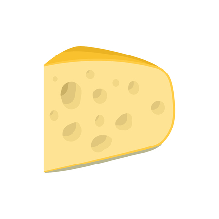 cheez: Triangular piece of cheese icon in cartoon style on a white background Illustration