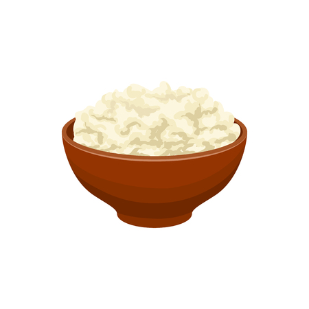 Cottage cheese icon in cartoon style on a white background