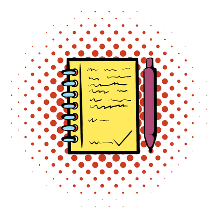 spiral notebook: Spiral notebook and ballpoint pen icon in comics style on a white background Illustration