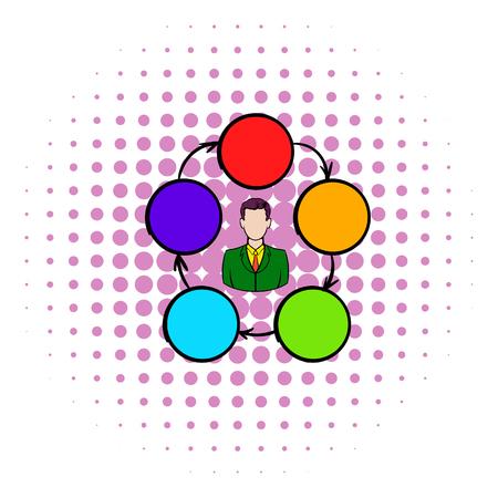 cooperacion: La cooperación, el trabajo en equipo, icono de la asociación en estilo cómic sobre un fondo blanco Vectores