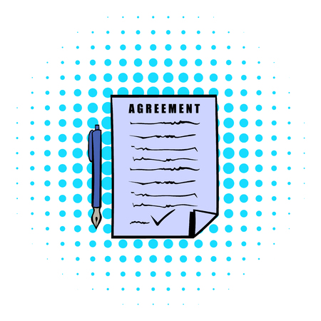 indenture: Agreement icon in comics style on a white background