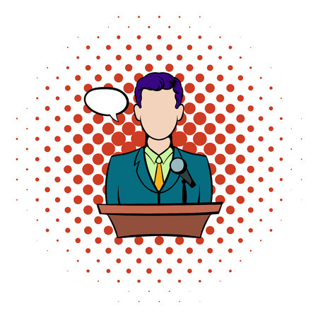 orator: Orator speaking from tribune icon in comics style on a white background Illustration